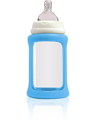 Cherub Baby Biberon Wide Neck in Vetro 240 ml, Cambia Colore, Azzurro - Anti-colica, tettarella 3-6 mesi Biberon In Vetro