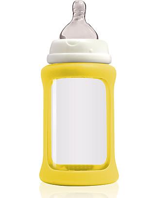 Cherub Baby Biberon Wide Neck in Vetro 240 ml, Cambia Colore, Giallo - Anti-colica, tettarella 3-6 mesi Biberon In Vetro