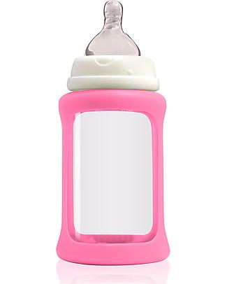 Cherub Baby Biberon Wide Neck in Vetro 240 ml, Cambia Colore, Rosa - Anti-colica, tettarella 3-6 mesi Biberon In Vetro