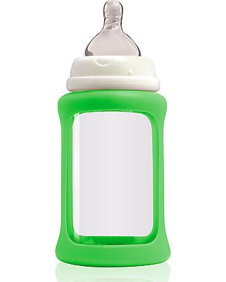 Cherub Baby Biberon Wide Neck in Vetro 240 ml, Cambia Colore, Verde - Anti-colica, tettarella 3-6 mesi Biberon In Vetro