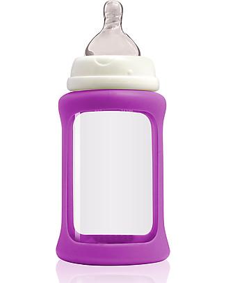Cherub Baby Biberon Wide Neck in Vetro 240 ml, Cambia Colore, Viola - Anti-colica, tettarella 3-6 mesi Biberon In Vetro