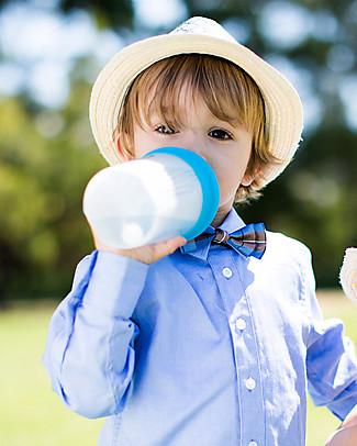 Cherub Baby Clip'N'Sip, Tappo Universale in Silicone con Beccuccio e Cannuccia, Pacco da 2, Azzurro & Verde - Universale, trasforma tazze e bicchieri! Biberon In Vetro