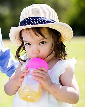 Cherub Baby Clip'N'Sip, Tappo Universale in Silicone con Beccuccio e Cannuccia, Pacco da 2, Rosa & Arancione - Universale, trasforma tazze e bicchieri! Biberon In Vetro