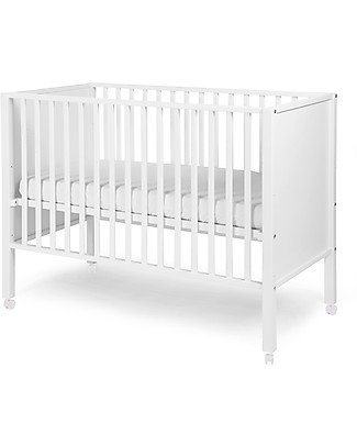 Childhome Beech Wood Cot, White, 60 x 120 cm – With wheels! Cots & Cotbeds