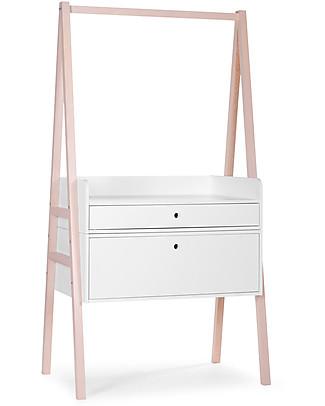 Childhome Cassettiera/Fasciatoio Convertibile Nordic Acacia, Bianco – Si trasforma in scrivania! Appendiabiti e Grucce