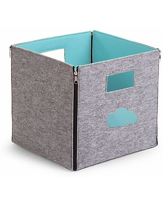Childhome Contenitore Reversibile in Feltro, Grigio/Menta – 32x32x29 cm  Contenitori Porta Giochi