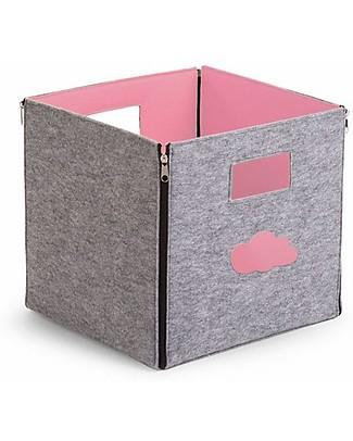 Childhome Contenitore Reversibile in Feltro, Grigio/Rosa chiaro – 32x32x29 cm  Contenitori Porta Giochi