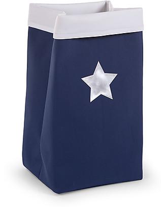 Childhome Contenitore Ripiegabile in Tela, Blu con Stella – 32 x 32 x 60 cm Contenitori Porta Giochi