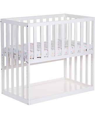 Childhome Culla da Co-sleeping Bedside con Ruote, 90x50 cm, Legno di Faggio, Bianco – Ideale accanto al letto dei genitori! Lettini Con Sbarre