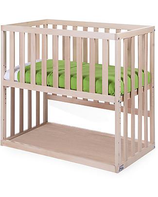 Childhome Culla da Co-sleeping Bedside con Ruote, 90x50 cm, Legno di Faggio, Naturale – Ideale accanto al letto dei genitori! Lettini Con Sbarre