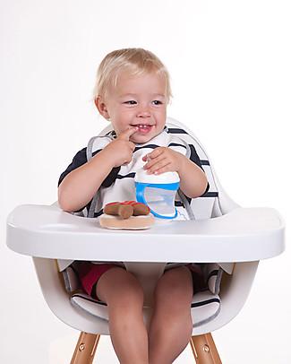 Childhome   Cuscino per Seggiolone Evolutivo Evolu 2 Chair, Righe Bianco/Blu – 100% Jersey di Cotone Seggioloni
