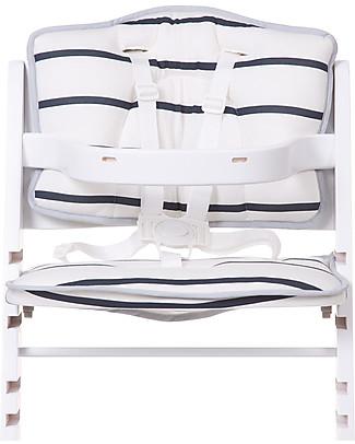 Childhome Cuscino per Seggiolone Evolutivo Lambda 2, Righe bianche/blu – Set di 2, 100% jersey di cotone Seggioloni