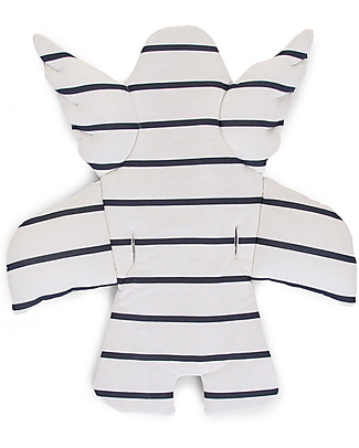 Childhome Cuscino Universale Angelo, Marin, Righe Bianco/Blu – 100% jersey di cotone Seggioloni
