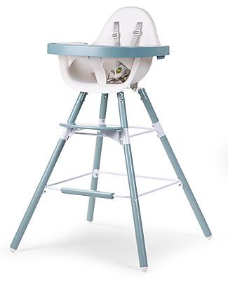 Childhome   Evolu 2 Chair Seggiolone Evolutivo 3-in-1, Jade Green – Include vassoio pappa e prolunga gambe Seggioloni