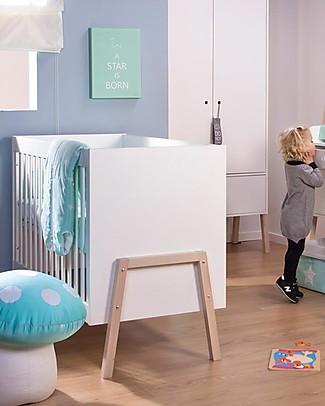 Childhome Lettino con Sbarre Nordic Acacia, Bianco, 60 x 120 cm Lettini Con Sbarre