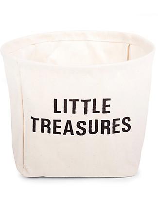 Childhome Little Treasures, Cesto Portaoggetti in Cotone 100% - 23 cm diametro Contenitori Porta Giochi
