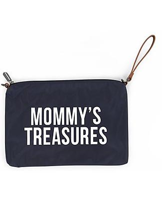 Childhome Mommy Treasures, Pochette Donna 33 x 23 x 3 cm, Bianca e Blu Borse Cambio e Accessori