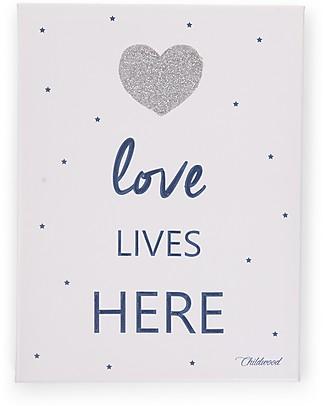 """Childhome Quadro ad Olio """"Love Lives Here"""", Blu - 30x40 cm Decorazioni"""