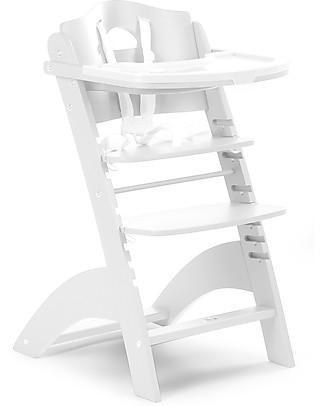 Childhome Seggiolone Evolutivo in Legno Lambda 2, Bianco – Diventa sedia normale, fino  a 85Kg! Seggioloni
