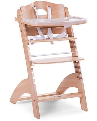 Childhome Seggiolone Evolutivo in Legno Lambda 2, Naturale – Diventa sedia normale, fino  a 85Kg! Seggioloni