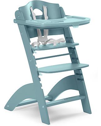 Childhome Seggiolone Evolutivo in Legno Lambda 2, Verde Giada – Diventa sedia normale, fino  a 85Kg! Seggioloni