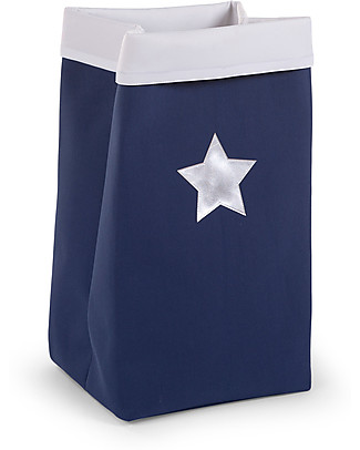 Childwood Contenitore Ripiegabile in Tela, Blu con Stella - 32 x 32 x 60 cm Contenitori Porta Giochi