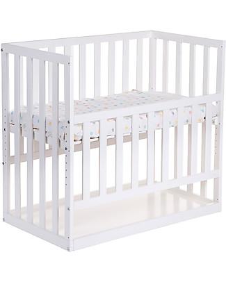 Childwood Culla da Co-sleeping Bedside con Ruote, 90x50 cm, Legno di Faggio, Bianco - Ideale accanto al letto dei genitori! Lettini Con Sbarre