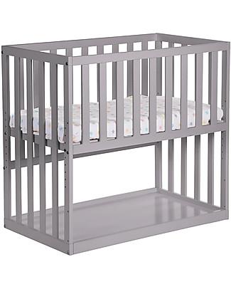 Childwood Culla da Co-sleeping Bedside con Ruote, 90x50 cm, Legno di Faggio, Grigio Pietra – Ideale accanto al letto dei genitori! null
