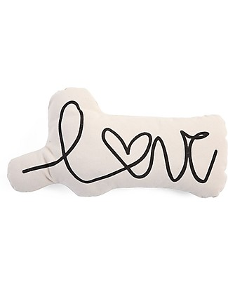 Childwood Cuscino in Cotone con Scritta Love, Bianco - 20 x 10 x 39 cm Cuscini Arredo