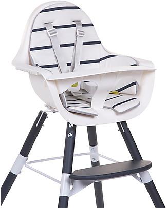 Childwood   Cuscino per Seggiolone Evolutivo Evolu 2 Chair, Righe Bianco/Blu - 100% Jersey di Cotone Seggioloni