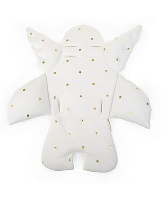 Childwood Cuscino Universale Angelo, Bianco/Pallini dorati - 100% jersey di cotone Seggioloni