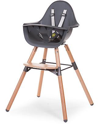 Childwood Evolu 2 Chair Seggiolone Evolutivo e Convertibile - Antracite/Legno - Da 6 mesi a 6 anni Seggioloni