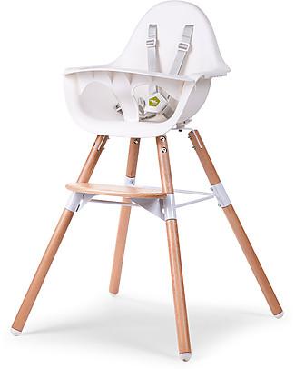 Childwood Evolu 2 Chair Seggiolone Evolutivo e Convertibile - Bianco/Legno – Da 6 mesi a 6 anni Seggioloni