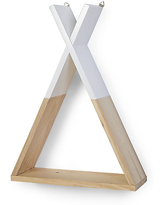 Childwood Mensola Tipi 35 x 12 x 47 cm, Legno + Bianco - Faggio massello Mensole