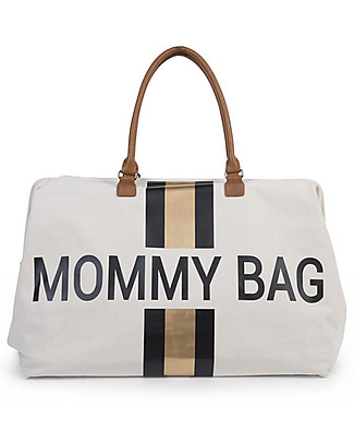 Childwood Mommy Bag, Borsa Fasciatoio 55 x 30 x 30 cm, Righe Nero/Oro - Include materassino per il cambio! Borse Cambio e Accessori
