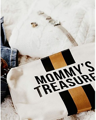 Childwood Mommy Treasures, Pochette Donna 33 x 23 x 3 cm, Righe Nero/Oro Borse Cambio e Accessori