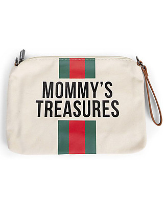 Childwood Mommy Treasures, Pochette Donna 33 x 23 x 3 cm, Righe Verde/Rosso Borse Cambio e Accessori