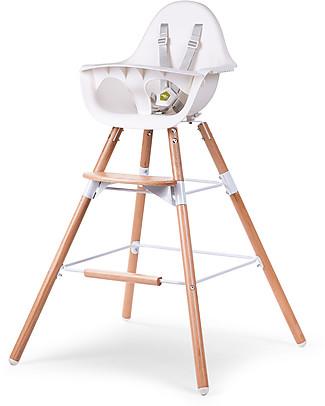 Childwood Prolunga Extra per Seggiolone Evolutivo Evolu 2 Chair, Legno Naturale e Bianco Seggioloni