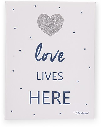 "Childwood Quadro ad Olio ""Love Lives Here"", Blu - 30x40 cm Decorazioni"
