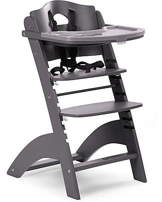 Childwood Seggiolone Evolutivo in Legno Lambda 2, Antracite – Diventa sedia normale, fino  a 85Kg! Seggioloni
