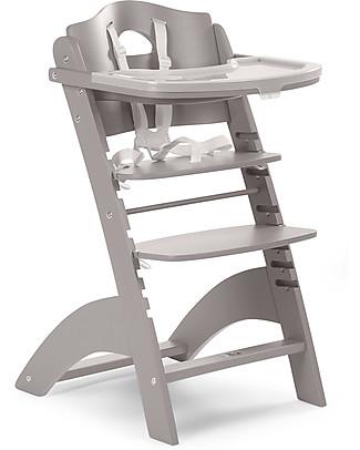 Childwood   Seggiolone Evolutivo in Legno Lambda 2, Grigio Pietra – Diventa sedia normale, fino  a 85Kg! Seggioloni