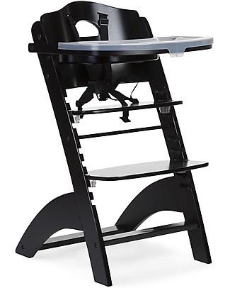 Childwood Seggiolone Evolutivo in Legno Lambda 2, Nero - Diventa sedia normale, fino  a 85Kg! Seggioloni