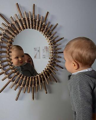 Childwood Specchio in Rattan, Naturale - 60 x 5 x 60 cm Decorazioni