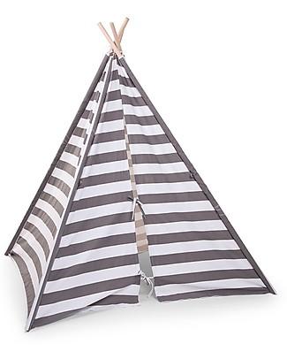 Childwood   Tenda Gioco Tipi in Tela, Righe bianche e grigie – Con borsa in tela per il trasporto! Tende