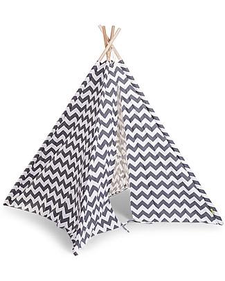 Childwood Tenda Gioco Tipi in Tela, Zig Zag bianco/grigio – Con borsa in tela per il trasporto! Tende Gioco