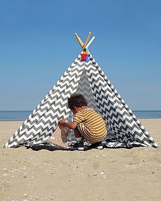 Childwood Tenda Gioco Tipi in Tela, Zig Zag bianco/grigio – Con borsa in tela per il trasporto! Tende