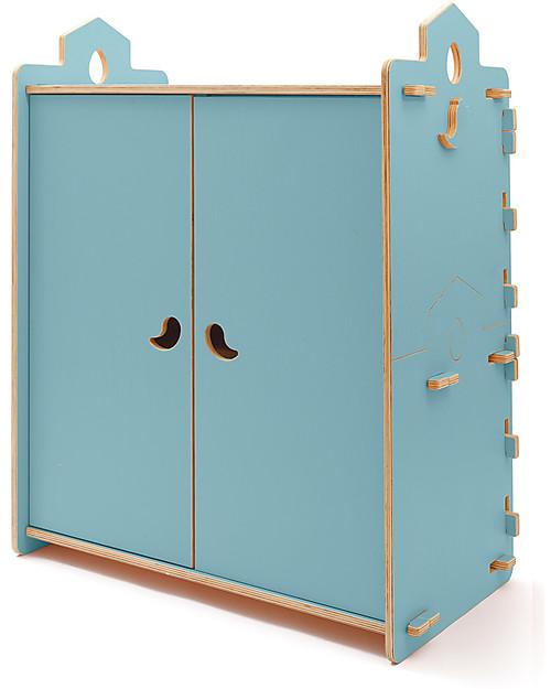 Cocò&Design Armadio Tana, Azzurro Gelso - 110x60x120 cm -Legno di pioppo Cassettiere