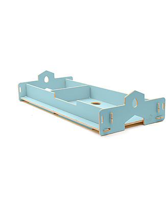 Cocò&Design Letto Che Cresce Nanni, Azzurro Gelso - 180x80x22 cm - Legno di pioppo Letti Montessoriani