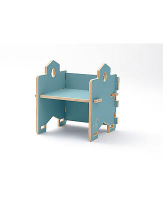 Cocò&Design Poltroncina Libreria Impilabile Bice, Azzurro Gelso - 45x45x30 cm - Legno di pioppo Librerie