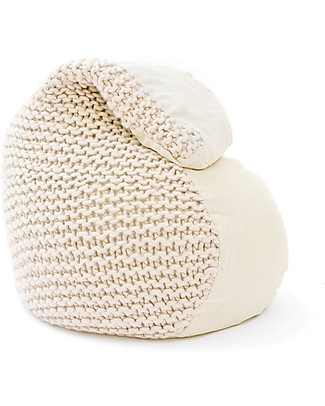 Cocò&Design Sacco Pouf Bimbi Nuvolana, Avena - 80×60x20 cm - Lana, lino e farro bio Cuscini Arredo